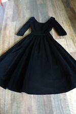 Laura Ashley BNWOT vintage elegant smooth long black velvet dress  8 +