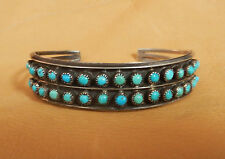 VINTAGE NATIVE AMERICAN ZUNI PETIT POINT TURQUOISE STERLING SILVER CUFF BRACELET