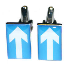 Blue & White One Way Arrow Road Sign Cufflinks With Gift Pouch Present New