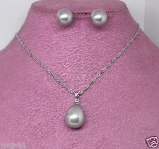 10mm Gray South Sea Shell Pearl Earrings Water-Drop Pendant Necklace Set