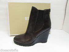 Michael Kors Size 9 M Brown Leather Wedge Boots New Womens Shoes
