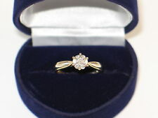 H Samuel 9ct Two Colour Gold Fifth Carat Diamond Cluster Ring Size K RRP £499