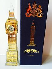 Gold Plated Crystal Big Ben Clock with changing lights Souvenir Gift.Height:23cm
