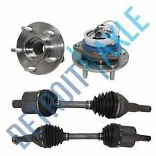 2 Front Driver & Passenger CV Axle Drive Shaft FWD + 2 New Wheel Hub Bearing ABS