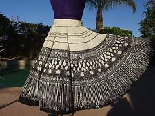 "Vintage 1950s Mexican handpainted circle skirt sequins XS/S 26"" waist cotton"