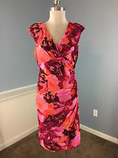 AMERICAN LIVING RALPH LAUREN red pink floral sheath dress 10 12 career cocktail