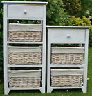 CHOICE OF 3 or 4 DRAWER WOOD & WICKER STORAGE UNITS - comes fully assembled