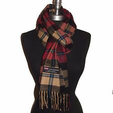 New 100% Cashmere Scarf Rose/Camel/Black check Plaid Wool Soft Unisex (#C09E)
