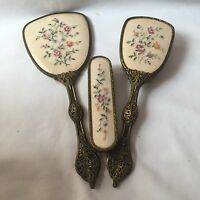 Vintage Ornate Hand Brushes And Mirror Embroidered For Dressing Table Set