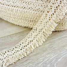Buddly Crafts 38mm Cotton Crochet Lace with Tassels - 1m Natural #CCL1