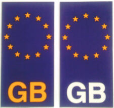2 European Union GB Number Plate Stickers car, bike etc