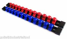 "2 GOLIATH INDUSTRIAL 1/2"" ABS MOUNTABLE RED/BLUE SOCKET RAILS HOLDERS ORGANIZER"