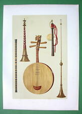 MUSIC INSTRUMENTS  Chinese FLute Japanese Pipe - SUPERB Color Litho Print