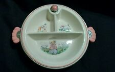 Vintage Ceramic Little Bo Peep Baby Warming Feeding divided Dish Plate Pink