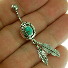Native American Turquoise Belly Button Navel Ring, 316L Steel $ Silver, f298/auc