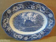 "Liberty Blue China 12"" Oval Platter Virginia Governors House Wedgwood England A3"