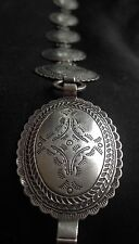 Vtg Native American Navajo Hand Stamped Dome Link Turquiose Sterling Concho Belt