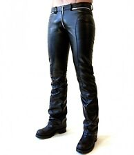New Genuine Leather Low Rise Pants Zipper Front Through Crotch Moto Style Biker