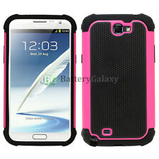 Hybrid Rugged Rubber Matte Hard Case Cover for Samsung Galaxy Note 2 Hot Pink