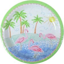 HAWAIIAN LUAU Pastel Flamingo SMALL PAPER PLATES (8) ~ Birthday Party Supplies