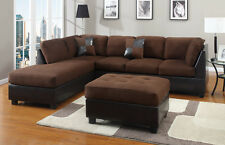 Chocolate Sectional Couch Sofa Sectionals Microfiber Complete Set Chaise Leather