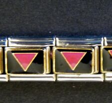 PINK TRIANGLE GAY RIGHTS PRIDE ENAMEL ITALIAN MODULAR CHARM, 9mm, Single Link