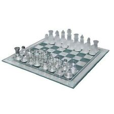 Glass Chess Set Board Frosted Clear Pieces 10 Inch Board Game Elegant New