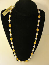 NAPIER NWT Textured Gold Tone Balls with White Faux Pearls Strand StringNecklace