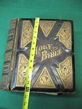 1880's Holy Bible Over 2000 Illustrations Inscribed Fair Condition