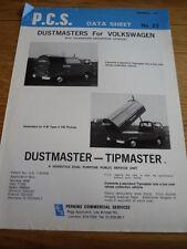 """VW VOLKSWAGEN TYPE """" & LT DUSTMASTER ( P.C.S.) BROCHURE jm"""