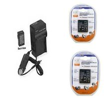 2 Batteries + Charger for Panasonic DMC-FP3P-R DMC-FP3PA DMC-FP3R DMC-FP3S FP3V