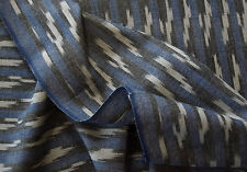 """Artisan Ikat. Hand-Woven & Dyed Drapery Fabric Blue Black India Cotton 44"""" Wide"""