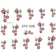 NAIL ART STICKERS WATER DECAL NAIL TRANSFER WRAPS RED FLOWER FLORAL RETRO STZ028
