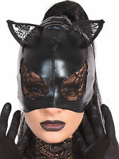 Coquette Women's Sexy BDSM Mask in Wetlook Black Inner Feline One Size