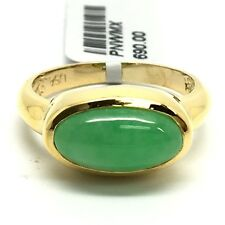 14k Yellow Gold Natural Jade Ring. Lucky Stone. Bezel Set
