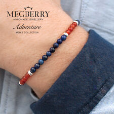MEGBERRY Mens 925 Sterling Silver, Lapis Lazuli & Carnelian Bracelet Made in UK