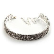 4-Row Diamante Gargantilla Collar de plata y claro ()