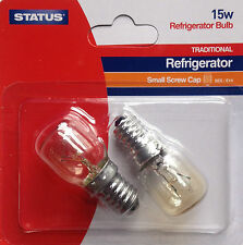 STATUS Twin Pack 15W Fridge/Freezer Appliance Light Bulb 240V SES E14 Lamp NEW