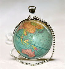 Vintage Map Cabochon Glass Necklace Pendant with Ball Chain Necklace f4