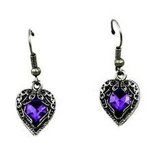 Fallen Dark Angel Wings & Heart Goth Earrings Purple Stone Deathrock Rockabilly