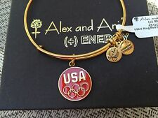 NWT ALEX and ANI Olympic TEAM USA 5 RING RED EPOXY Charm GOLD Bangle BRACELET