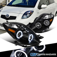 Toyota 2006-2008 Yaris 2/3Dr Hatchback Halo Projector LED Headlights Lamps Black