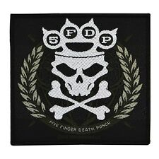 """5FDP """"Five Finger Death Punch"""" Knuckle Crown Skull Sew-On Patch Metal Band Merch"""
