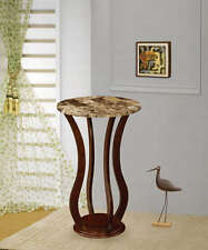 Cherry Finish Accent Table Plant Stand with Faux Marble Top by Coaster 900926