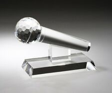 Genuine Crystal Microphone Award Trophy Free Glass Engraving Faceted Crystal