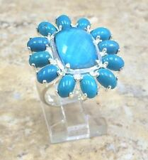 VENEZIA STERLING SILVER TURQUOISE FLOWER BAND RING SIZE 6 HSN SOLD OUT