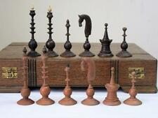 "ANTIQUE 18th CENTURY DUTCH CHESS SET KING 4""  + LARGE OAK BOX - NO  BOARD"