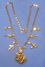 "Kirks Folly 30"" long gold tone necklace signed, cherubs, mixed rings, diamonte"