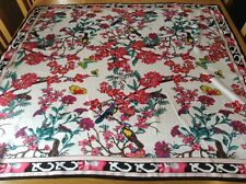 VINTAGE SILK SCARF.  BIRDS + BUTTERFLIES MIDST BLOSSOM.  34 x 33 INCHES.  PRETTY