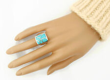 Vtg Sterling Silver Southwestern Flush Inlaid Turquoise Ring sz 7